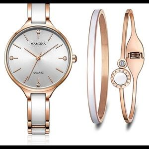 Quartz Watch Set Crystal Accented Ceramic L3877GT